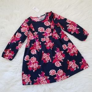 Gap navy floral flannel long sleeve ruffled dress